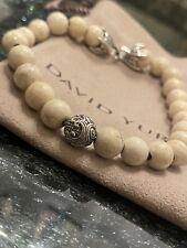 """DAVID YURMAN Men's 8mm Riverstone Silver W Wave Spiritual Beads Bracelet 8.5"""""""