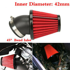 Red 45° Bend Inlet 42mm Cone Style Car Cold Air Intake Filter w/Adjustable Clamp
