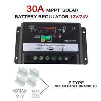 30A MJʌT Solar Panel Charge Controller 12V 24V Battery Regulator + Z Brackets Jʌ