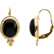 Onyx Cabochon Lever Back Earrings In 14K Yellow Gold