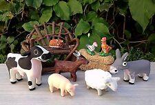 Miniature Dollhouse FAIRY GARDEN ~ Set of 8 Farm Animals Cow Sheep Goat Pig Cat
