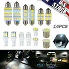 14Pcs T10 36mm LED Interior Car Accessories Kit Map Dome License Plate Lights