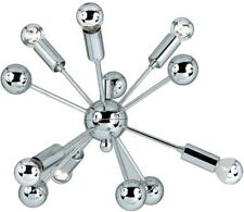 Mini Chandelier 6-Light Hardwired/Plug-In in Chome Finish with Central Sphere