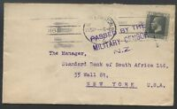 NEW ZEALAND to USA 1916 Censored Cover VF