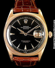 ROLEX VINTAGE 18K ROSE DATEJUST 6305 OVETTONE BIG BUBBLE BACK 1953