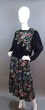 Vintage Diane Fres Silk Blend Floral Dress With Metallic Gold Thread Trim