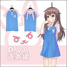 Overwatch DVA D.VA ONE-PIECE DRESS Cosplay Costume Cute Girl Summer pajamas