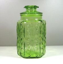"""Imperial Glass  Green ATTERBURY SCROLL 9"""" Sugar Canister/Cookie Jar w Lid"""