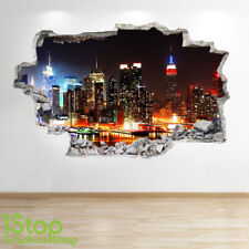 NEW YORK SKYLINE WALL STICKER 3D LOOK - BEDROOM LOUNGE CITY WALL DECAL Z557
