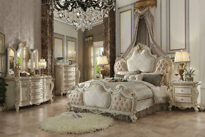 NEW Antique Pearl White Bedroom Furniture - 5pcs King Upholstered Bed Set IAAL