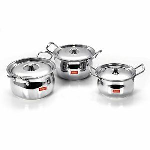 Stainless Steel Handi Cookware With Lid, 1.1 Ltr, 1.6 Ltr, 2.1 L, 3 Piece Set