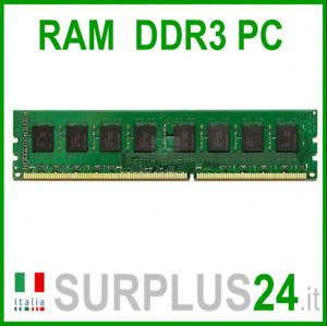 Memoria RAM 4GB DDR3 (1x4GB) PC3L-12800U 1600Mhz 1,35v 240 pin x DESKTOP  No Ecc