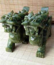 8.71lb   Rare A pair China natural xiu jade hand-carved Brave troops statues  k