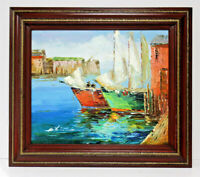 Harbor Dock Sailboats 20 x 24 Oil Painting on Canvas w/ Custom Wooden Frame