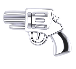Gun Revolver Tooth Gems for Teeth 18k Yellow Gold on 925 Sterling Silver Gang