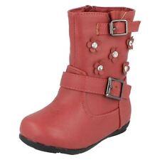 Scarpe stivali rossi con cerniera per bambine dai 2 ai 16 anni