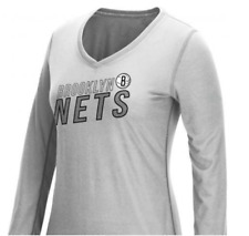 ADIDAS Womens NBA Brooklyn Nets Stacked V-Neck L/S Ultimate Tee Sz M - Gray $35