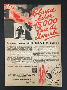 PUBLICITE EXTINCTEUR VOLCAN AVEC TIMBRE PETAIN FORMAT 22X31 CM VERS 1940