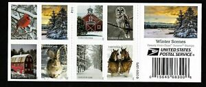 #5531b Winter Scenes  (forever) 2020 Issue-MNH Booklet Pane of 20 (10 Different)