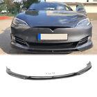 Carbon Fiber Front Bumper Lip Spoiler Splitter For Tesla Model S Saloon 2016-17