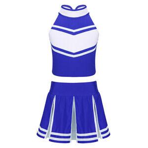 Girls School Cheerleading Uniform Cheer Leader Outfit Sleeveless Tops with Skirt