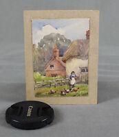 19th Century Miniature Watercolour Figural Cottage Landscape