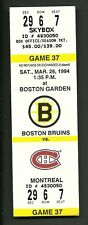 Montreal Canadiens vs Boston Bruins 1993-94 Unused Full Hockey Ticket