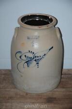Antique Haxstun Ottman Fort Edward NY 4 Gallon Stoneware Salt Glaze Jug Crock