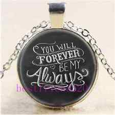 You Will Forever Be My Always Cabochon Glass Tibet Silver Chain Necklace