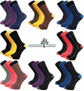 3 Pairs Mens Alexander Green Plain, Spotted or Striped Bamboo Socks, Size 7-11
