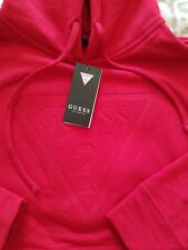 Nwt GUESS hoodie Women Red Logo Small New