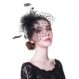 Ladies Wedding Party Fascinators Flower Hair Clips Feather Headband Cocktail Hat