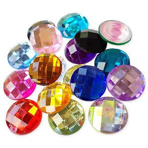 25mm Round Flatback Acrylic Crystal Rhinestone Embellishment Gem Decoden Jewels