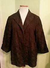 Eileen Fisher brown jacket sz m open front 100% silk and 100% cotton textured