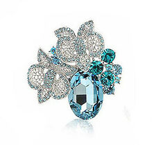 Crystal Corsage Bridal Brooch Pin Br180 Vintage Style Aqua Blue Oval stone