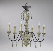 IRON and DISTRESSED WOOD 6 Light Chandelier, Provence FRENCH COUNTRY Farmhouse