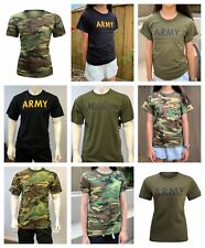 Mens Womens Kids Boys Girls Army Gym Training Running Camp Camo T-SHIRT Tee Tank
