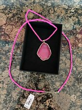 Kendra Scott Beatrix Necklace Magenta Pink Gold Plate Agate NWT $150