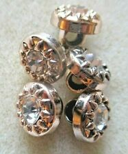 10PCS 10MM CRYSTAL CUSHION GOLD BACK SEW ON SHANK BUTTONS