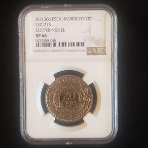 AH 1366 Essai Morocco 20 franc NGC SP 64 RARE SPECIMEN