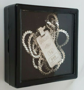 STERLING SILVER NECKLACE WITH 5G INGOT FINE SILVER (999) PENDANT,