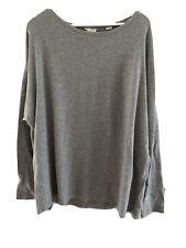 Pure DKNY Grey Oversize XXL 18 20 22 Long Sleeve Fine Knit Top Designer Cotton