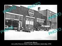 OLD POSTCARD SIZE PHOTO OF CRYSTAL LAKE ILLINOIS THE STUDEBAKER GARAGE c1950