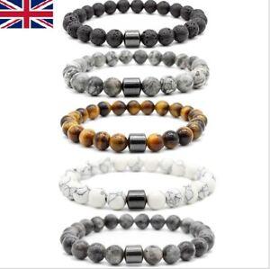 MenWomen Gemstone Magnetic Hematite Beads Energy Healing Yoga Strand Bracelet
