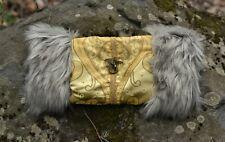 Victorian Steampunk Muff Hand Warmer Gray Fur, Gold Embroidered Brass Dragon