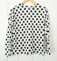 Zara SPOTTY Sleeve Top Blouse Size Small Polka Dot Puff Sleeve