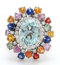 7.65 Carat Natural Blue Aquamarine, Sapphire and Diamonds in 14K White Gold Ring