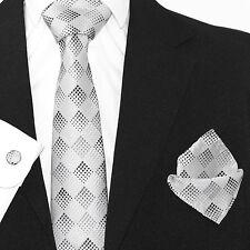 Para Hombre Negro Corbata Seda Tejida geométricas de Plata + Pañuelo & cuflinks Juego Set 227