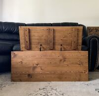 Rustic Farmhouse Style Wood Storage Chest Trunk With Lid