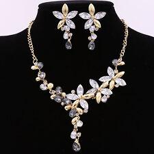 Wedding Bride Bridesmaid Party Rhinestone Necklace Pendant Earrings Jewelry Set